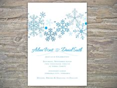 Winter Wedding Invitation - Snowflakes DIY