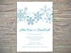 Winter Wedding Invitation - Snowflakes DIY