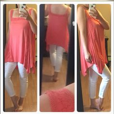 Coral lace shoulder top Coral lace shoulder topbeautiful!!! Loose fit. Soft and so comfortable Tops