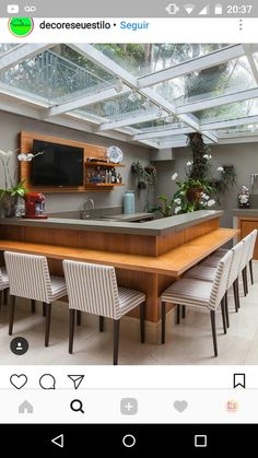 Beautiful Kitchens, Cool Kitchens, Outdoor Rooms, Outdoor Living, Home Decor Kitchen, Kitchen Design, Kitchen Seating, Interior Decorating, Interior Design