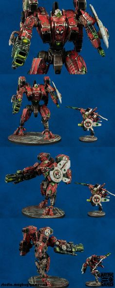 Warhammer 40k, Tau Broadside & Commander. Very cool posing and paint job! Looks like a beginning for The Eight from the Farsight Enclave