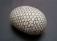 amylenore | Decorative Painted Rock Gray Scale Armor Stone by amylenore
