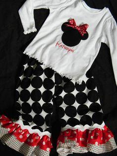 boutique custom tshirt applique monogram minnie mouse name disney embroidered