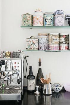 TEA sfgirlbybay / bohemian modern style from a san francisco girl Mini Bar, Tea Station, Wine Station, Tea Tins, Tea Canisters, Kitchen Interior, Eclectic Kitchen, Modern Interior, Interior Styling