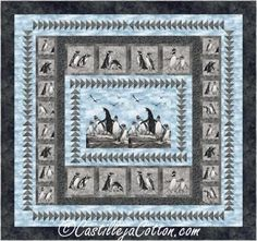 """Uses two printed panels and geese borders. Pieced king penguin quilt pattern. No waste geese method. Finished Size: King 96"""" x 90"""" Skill Level: Intermediate Technique: Pieced King Penguin, No Waste, Panel Quilts, Fabric Panels, Penguins, Quilt Patterns, Frame, Prints, Picture Frame"""