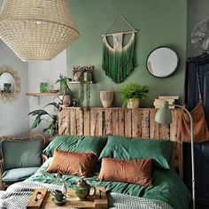 Home Decor Bedroom Everything in This Irish Cottage Has Been Upcycled or DIYed.Home Decor Bedroom Everything in This Irish Cottage Has Been Upcycled or DIYed Bedroom Green, Green Rooms, Home Bedroom, Bedroom Ideas, Bed Ideas, Bedroom Designs, Green Bedding, Earthy Bedroom, Modern Bedroom