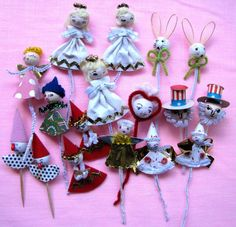 Vintage Spun Cotton Picks Lot of 17 Corsage Christmas Holiday Crafts