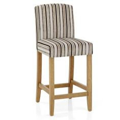 Our Carter Oak Bar Stool Cambridge Stripe is a sophisticated take on a classic bar stool design, sure to enhance your home with its striped velvet fabric upholstery. Kitchen Worktop Height, Bar Chic, Modern Interior, Interior Architecture, Interior Ideas, Bar Stools Uk, Dining Chairs Uk, Arm Chairs, Restaurant Tables And Chairs