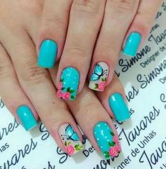 Fall Natural Nails Acrylic And Gel Polish Nail Designs Pretty fall natural nails - Fall Nails Cute Spring Nails, Spring Nail Art, Nail Designs Spring, Nail Polish Designs, Nail Art Designs, Gel Polish, Fancy Nails, Pretty Nails, Butterfly Nail Art