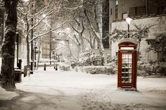 london snow: pretty snow scene of traditional red telephone box the embankment city of westminster london uk London Winter, London Snow, London Christmas, London City, Christmas Scenes, London Bridge, Christmas 2019, White Christmas, Christmas Ideas