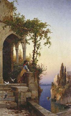 Hermann David Salomon Corrodi was an Italian painter of landscapes and orientalist scenes. Aesthetic Painting, Aesthetic Art, Classic Paintings, Beautiful Paintings, Fantasy Kunst, Fantasy Art, Renaissance Kunst, Italian Painters, Classical Art