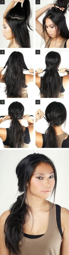 "Sexy Messy Ponytail, easy hairstyles, quick updo, Gather the center section of your hair. ""You'll want to separate this portion of your hair away from the rest, so that you can tease it t. My Hairstyle, Ponytail Hairstyles, Pretty Hairstyles, Ponytail Ideas, Simple Hairstyles, Hairstyle Ideas, Messy Ponytail Tutorial, Updos, Wedding Hairstyles"