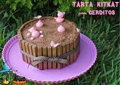 ó carón da Lareira: Tarta Kitkat con cerditos