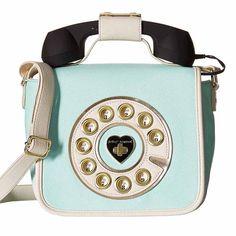 Betsey Johnson Call Me Baby Telephone Crossbody Purse in Mint