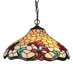 16 inch Suspension style rétro jardin européen Abat-jour en verre de couleur à motif des fleurs luminaire pour salon chambre salle à manger cuisine