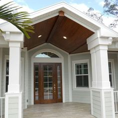 Ekena Millwork Endura Craftsman Classic Square Non-Tapered Panel Post Size: 60 H x W Front Porch Design, Garage Door Design, Garage Doors, Car Garage, Front Doors, House With Porch, House Front, Front Of Houses, Guest Houses