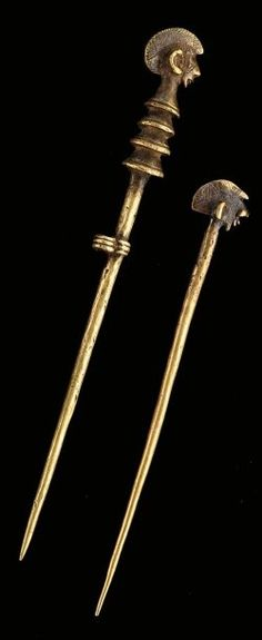 Bronze hairpins from the Bobo/Mossi people of Burkina Faso