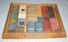 Gillette Wood Display Case Full of Safety Razors by kimberly7099