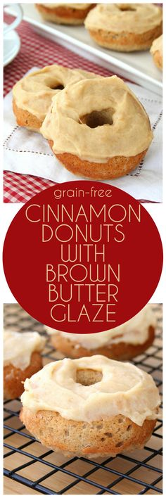 Low carb and grain-free cinnamon donuts with a delicious browned butter glaze
