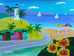 This pretty little acrylic painting is colorful and bright. It's a happy piece with the palm trees, lighthouse on the hill, sailboats with a beautiful day for sailing, umbrellas and chairs on the beach to watch the sailboats go by. There's birds in the sky and pretty hibiscus flowers to decorate the scenery. If you're looking for something to brighten your wall, this painting is for you! $60.00  FREE SHIPPING IF IN THE USA!!