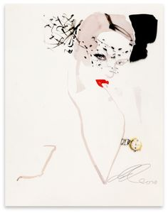David Downton  Stephane Rolland for Vogue.COM  2012    Ink and water colour on paper and acetate overlay  44.5 x 29 cm    FIG Ref: 01901    Available to Buy Online    £1,750.00         or call +44 (0)20 7112 1979 for further details.