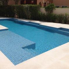 Pool tile Brushed Blue & Green Iridescent - mediterranean - swimming pools and spas - tampa - American Tile and Stone/Backsplashtogo.com