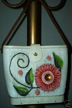 Enid Collins Papier Mache flower basket bucket bag.