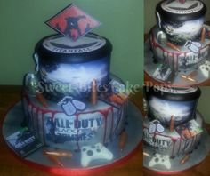 Call of Duty Zombies and Titanfall cake This cake is perfect for your gamer! From fondant game cases to screen shot edible images this cake will please even the toughest gaming critic!