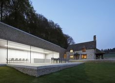 Old and new: minimalist modern addition to an English country home.