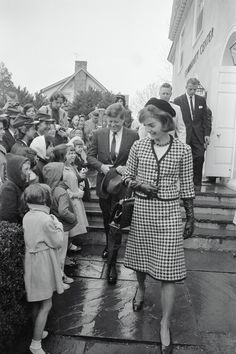 April 9, 1961.  Jackie Kennedy with President John F. Kennedy leaving the Middleburg Community Center after attending Mass 4/9 in Middleburg, Virginia.