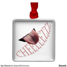Say Cheese! Square Metal Christmas Ornament