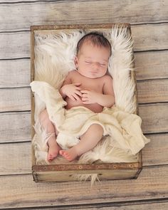 newborn photography, baby in a crate, newborn boy