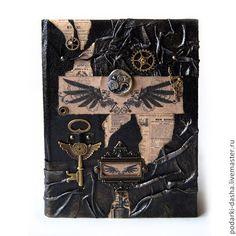 Купить Мужской ежедневник кожаный СТИМПАНК - черный, ежедневник из кожи, ежедневник кожаный, ежедневник мужской