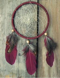 Dream Catcher Wall Hanging Dark Red Dreamcatcher // Southwestern Dream Catcher // Native American Dreamcatcher