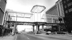 6th Street Marketplace bridge framework The support pillars and steel framework of the 6th Street Marketplace completely spanned Broad Street by March of 1985.