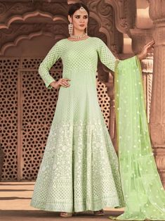 Beautiful light green embroidered gown anarkali for women available at Inddus. This elegant set comprises a viscose georgette anarkali kurta with cotton leggins also paired with net dupatta. Anarkali Lehenga, Long Anarkali, Anarkali Suits, Bridal Lehenga, Buy Salwar Kameez Online, Looks Chic, Designer Gowns, Designer Wear, Abaya Fashion