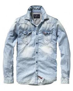 Menswear  LongSleeve  Shirt  Woven  Denim - Bleached-out western shirt 34b06d64e1ce