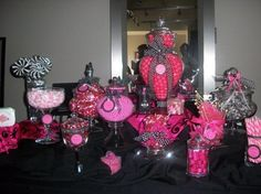 pink and black wedding reception ideas | Pink and Black Candy Buffet