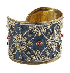 Blue Zardozi Textured Brass Cuff