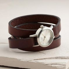 One of my favorite discoveries at WorldMarket.com: Brown Leather Wrap Watch