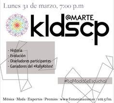 Este 31 de marzo, Maggie Cortez presenta un programa sobre el evento que abre las puertas a los nuevos diseñadores salvadoreños: KLDSCP! Conoce la historia y el desarrollo de este evento, a quienes participarán con sus diseños este año y a las ganadoras del#RallyKotex gracias a Kotex El Salvador y Trend Studio FM! Lunes, 7:00 p.m. por Radio Femenina 102.5! #LaModaSeEscucha!