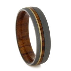 This titanium wedding band features a unique blend, of craftsmanship, beauty and skilled artistry. This gorgeous, custom made wood wedding band features. Antique Wedding Rings, Custom Wedding Rings, Wedding Bands, Titanium Wedding Rings, Titanium Rings, Ring Tattoos, Wood Rings, Diamond Engagement Rings, Solitaire Engagement