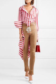 Monse   Draped striped cotton-blend poplin shirt   NET-A-PORTER.COM