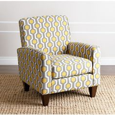 Abbyson Living Conway Yellow Pattern Fabric Armchair ($409) ❤ liked on Polyvore featuring home, furniture, chairs, accent chairs, grey, yellow arm chair, yellow accent chair, patterned accent chairs, geometric chair and grey accent chair