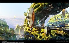 """""""A futuristic vision of Los Angeles where architecture and landscape are harmoniously fused into one."""" Digital painting by Aleksander (Olek) Novak-Zemplinski, for the NVArt """"Art Space: Architecture and Landscape"""" competition Futuristic City, Futuristic Architecture, Green Architecture, Organic Architecture, Architecture Design, Future City, Future Vision, City Wallpaper, Wallpaper Backgrounds"""