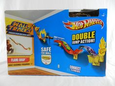 New 2014 Hot Wheels Wall Tracks Flame Drop Double Jump Action Playset  #HotWheels