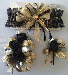 Gold Black Prom Garter Rose Corsage Set