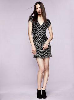 Parker Serena Short-Sleeve Beaded Deco Dress