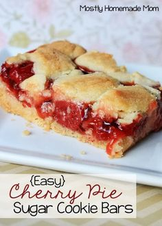 {Easy} Cherry Pie Sugar Cookie Bars - Sweet cherry pie filling between sugar cookie layers. Such an easy and pretty dessert!