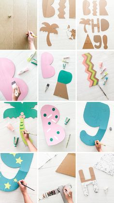 Giant Cardboard Letter Installation (Oh Happy Day! Cardboard Letters, Cardboard Crafts, Paper Crafts, Diy Crafts, Trending Crafts, Party Fiesta, Free Baby Stuff, Diy Birthday, Diy Party